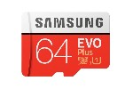 Samsung 64GB micro SD Card EVO+ with Adapter, Class10, Read 100MB/s - Write 60MB/s