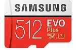 Samsung MicroSD card EVO+ series with Adapter, 512GB , Class10, UHS-1 Grade3 , Speed Read 100MB/s, Speed Write 90MB/s